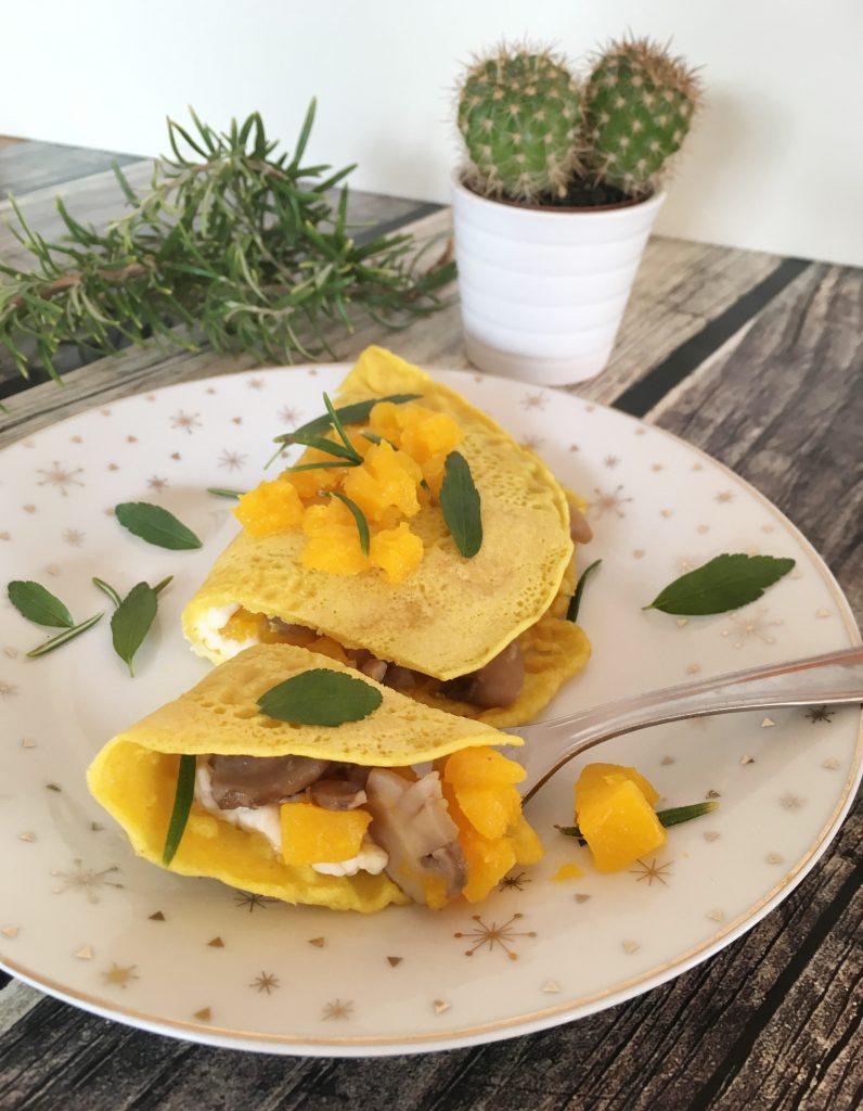 Crespelle vegetariane di ceci con zucca e funghi| Ça va sans dire | cavasansdire.com