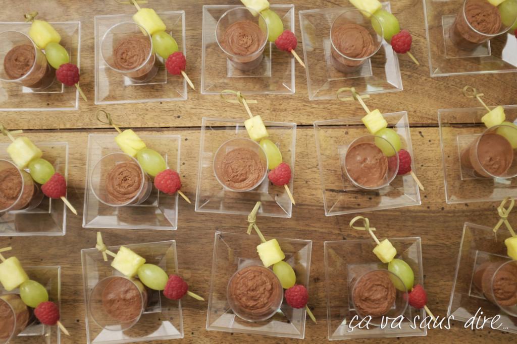 Crema al Cioccolato e Spiedino di Frutta